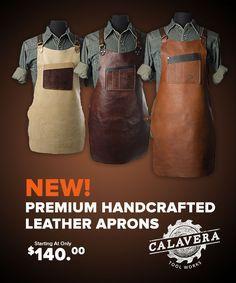 New! Calavera Tool Works Premium Leather Shop Aprons (US)