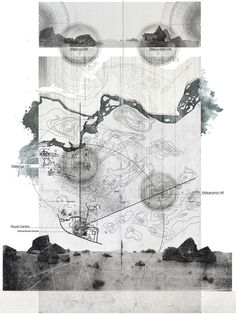 THE FORGOTTEN WORLD grey backed inset on white paper; graphite type blur and paper textures. Natural Forms bleed beyond the edges of the expected map boundary: use of pictures//layered Architecture Mapping, Architecture Panel, Architecture Graphics, Architecture Drawings, Site Analysis Architecture, University Architecture, Architecture Diagrams, Landscape And Urbanism, Landscape Architecture Design