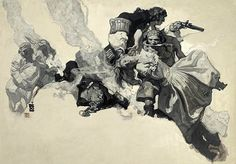 """Dean Cornwell, """"Captain Blood Saves a Woman Caught Between the Devil and the Deep Sea,"""" story illustration; """"The Expiation of Madame Coulevain,"""" Cosmopolitan, September Art And Illustration, American Illustration, Magazine Illustration, Comic Kunst, Comic Art, Dean Cornwell, Captain Blood, Art Plastique, Goblin"""
