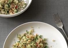 Summer quinoa salad with cucumber and pine nuts