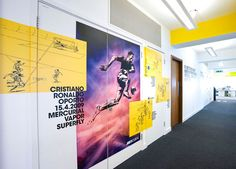 Nike UK Headquarters redesign by Rosie Lee Interior Design Software, Office Interior Design, Office Interiors, Design Offices, Gym Interior, Modern Offices, Magazine Design, Interior Design Magazine, Environmental Graphic Design