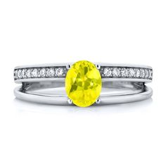 0.96 Ct Oval Canary Mystic Topaz 925 Sterling Silver Ring