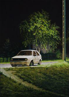 "Krzysztof Rzeźniczek ""Volkswagen Golf on Pszczynska street"" oil on canvas, 46/33 cm, 2012"