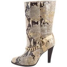 Pre-owned Michael Michael Kors Snakeskin Chain Boots ($125) ❤ liked on Polyvore featuring shoes, boots, gold, michael michael kors boots, multi coloured shoes, multicolor boots, chain boots and snake skin shoes