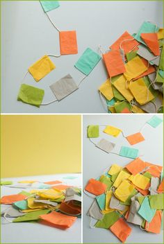 orange   yellow   aqua   green   grey    grey table with each chair a different color?