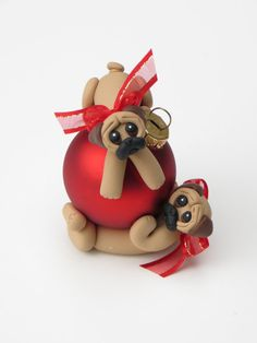 Pug dogs ornament polymer clay figurine by HeartOfClayGirl on Etsy, $25.00