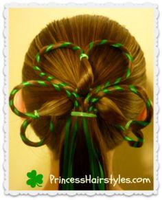 Ribbon Wrapped Shamrock Hairdo