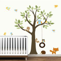 Wall Decals Vinyl Wall Decal tree with swing,forest animals-Nursery wall art Etsy modernwalls
