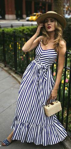 White stripe maxi dress - summer fashion