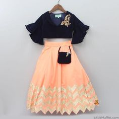 Pre Order: Navy Blue Velvet Top And Peach Lehenga - Pre Order: Navy Blue Velvet Top And Peach Lehenga - Indian Dresses For Kids, Kids Indian Wear, Kids Ethnic Wear, Little Girl Dresses, Girls Dresses, Baby Dresses, Kids Dress Wear, Kids Gown, Kids Wear