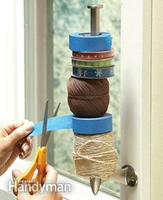 Free up drawer space and keep tape, twine and ribbon spools handy by storing them on a paper towel holder.