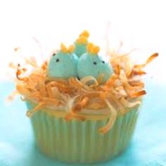 Coconut cupcake, with cream cheese frosting, topped with toasted coconut & robin egg babies :)