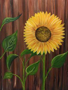 Paint nite - the sunflower pictures sanat resimleri, akrilik tuval, tuval r Easy Canvas Painting, Easy Paintings, Diy Painting, Painting & Drawing, Canvas Art, Painting Flowers, Canvas Ideas, Sunflower Canvas Paintings, Cooler Painting