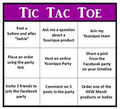 Here's a tic tac toe game Younique style  to play in your online parties https://www.youniqueproducts.com/samanthasalyards
