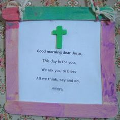 I want to do this every morning with my children. (maybe it will teach them to always talk with Jesus, not just at bedtime prayers) Bible School Crafts, Preschool Bible, Bible Crafts, Bible Activities, Nursery Activities, Religion Activities, Faith Crafts, Vbs Crafts, Church Activities