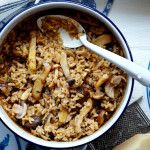 Baked red wine and mushroom risotto recipe