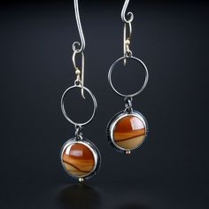 Bruneau Jasper Earrings. Fabricated Sterling Silver, 14k and 18k Gold. www.amybuettner.com https://www.facebook.com/pages/Metalsmiths-Amy-Buettner-Tucker-Glasow/101876779907812?ref=hl https://www.etsy.com/people/amybuettner http://instagram.com/amybuettnertuckerglasow