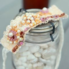 kojotutorial: anthropologie knock off vintage lace bracelet Fabric Bracelets, Lace Bracelet, Fabric Jewelry, Cuff Bracelets, Homemade Xmas Gifts, Putting On The Ritz, How To Make Leather, Homemade Bracelets, Jar Gifts