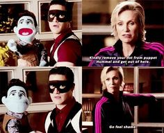 Sue, Blaine & Puppet-Hummel XD 5x07 What in the world is going on here?  Let's hope he's just rescuing puppet Kurt from Sue...