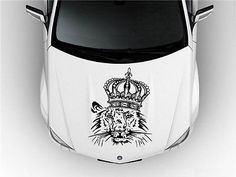 Hood Auto Car Vinyl Decal Stickers Animals a Lion with a Crown S3673