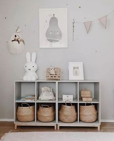 playroom design, kid playroom decor ideas, playroom organization for kid room, kid room decor, woven belly basket in cubby for toy storage for nursery design or girl room design