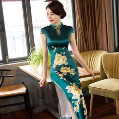 New Arrival Long Slim Women Cheongsam Dress Chinese Ladies Satin Qipao Novelty Sexy Flower Dress Size S M L XL XXL XXXL F080918