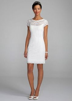 davidu0027s bridal wedding dress short lace cap sleeve dress with exposed zipper style 231m28570