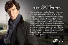 I took Zimbio's 'Sherlock' quiz and I'm Sherlock Holmes! Who are you? #ZimbioQuiznull - Quiz