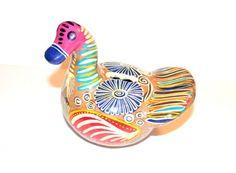 Rare 1940 Vibrant Tlaquepaque Mexico Turkey Bird Bank Mexican Art Pottery Collectible | antiquealchemy - Ceramics & Pott