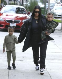 Kim was dressed casually in a puffy black jacket and tracksuit bottoms which she teamed with a black top and sunglasses