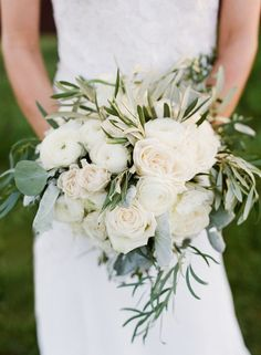 Need a bridal bouquet inspiration for your wedding? Consider the white bridal bouquet. While we love scoping out all of the innovative floral designs that are out there, a white bouquet will forever be timeless. Olive Branch Wedding, Olive Wedding, Mod Wedding, Farm Wedding, Floral Wedding, Wedding Ideas, Garden Wedding, Wedding Greenery, Wedding Country
