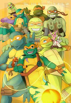 We are all Michelangelo! by AMerakiDom on DeviantArt Ninja Turtles 2014, Teenage Ninja Turtles, Ninja Turtles Art, Tmnt 2012, Tmnt Mikey, Disney Fan Art, Michelangelo, Cute Art, Anime