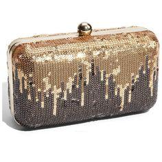 Natasha Sequin Frame Minaudiere ($49) ❤ liked on Polyvore featuring bags, handbags, clutches, purses, accessories, bolsas, women, print handbags, pattern purse and brown purse