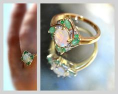 Fairy Emerald Opal Ring Diamond 10k Gold Engagement Ring Vintage Jewelry Wedding Luxury Gifts Anniversary Graduation Bridal Birthday stone