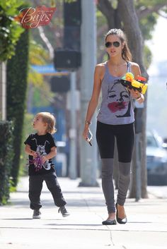 Alessandra Ambrosio is spotted out and about in Santa Monica, California with her son Noah on March 10, 2015