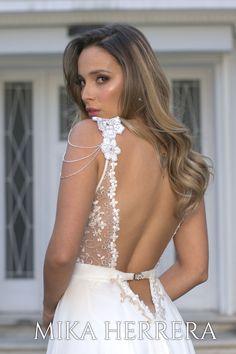 Enjoy our backless dress delicately handmade embroidered.  #bridalgown #weddingdress #mikaherrera #bertadress #weddingdressuk #britaindesign #bridalstorelondon #weddingdressembroidery #a-line Wedding Dresses Uk, Bridal Gowns, I Dress, London, Lace, Collection, Design, Fashion, Bride Dresses