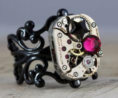 Steampunk Ring Steam Punk Jewelry - Vintage Wittnauer Watch Movement - Pink & Black Punk Star - Handmade by Inspired by Elizabeth. $39.00, via Etsy.