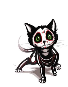 Sugar Skull Kitty by kidbrainer.deviantart.com on @deviantART