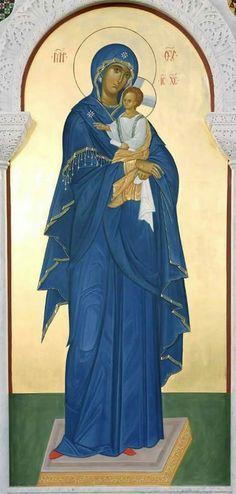 The Theotokos and the Christ Child Orthodox Catholic, Catholic Art, Byzantine Icons, Byzantine Art, Religious Icons, Religious Art, Jesus Art, Holy Mary, Madonna And Child