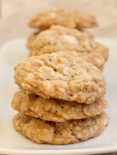 Salted Vanilla Chip Oatmeal Cookies are a delicious vanilla cookie with white chocolate chips and a sprinkling of salt. - Bake or Break