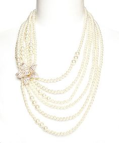 Loving this Faux Pearl & Crystal Blossom Necklace on #zulily! #zulilyfinds
