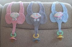 2011 # TammyK (a regular here) Love 'em! :thumbup: Sep 2011 # SEA Very cute. Brought a smile to my face. Crochet Baby Bibs, Crochet Baby Dress Pattern, Bib Pattern, Crochet Elephant, Crochet Baby Clothes, Knit Or Crochet, Baby Blanket Crochet, Crochet Toys, Baby Knitting