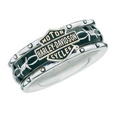 Sterling Silver Harley-Davidson Ladies Rumble & Roll Ring Description A Spectacular spinning ring, featuring a black, inner band that spins freely with a barbed wire design. The ring is solid .925 Sterling Silver. Available in ladies whole sizes 5-10.  Free Shipping in the USA. Solid .925 Sterling Silver by The  Officially Licensed by the Harley-Davidson Motor Company.  $134.95 http://mychoppers.com/ads/sterling-silver-harley-davidson-ladies-rumble-roll-ring/