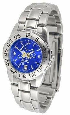 McNeese State University Ladies Stainless Steel Dress Watch by SunTime. $63.95. AnoChrome Dial Enhances Team Logo And Overall Look. Officially Licensed McNeese State Cowboys Ladies Stainless Steel Dress Watch. Links Make Watch Adjustable. Women. Stainless Steel-Scratch Resistant Crystal. McNeese State ladies stainless steel dress watch. This Cowboys women's watch comes with a stainless steel link bracelet, date calendar, plus a rotating bezel/timer circles the sc...