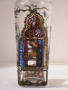 Hand Painted Glass Jar with a Window and Tree Pattern by Anumvella on Etsy