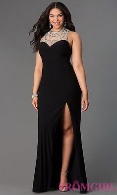 Floor Length Illusion Back Plus Dress at PromGirl.com