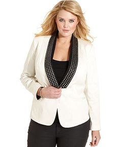 Jessica Simpson Plus Size Jacket, Darryl Studded Blazer - Plus Size Jackets & Blazers - Plus Sizes - Macy's
