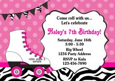 Skating Invitation Roller Skate Party Zebra Print by jcsaccents