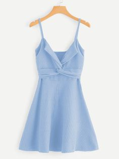 Shop Twist Front Knit Cami Dress at ROMWE, discover more fashion styles online. Fast Fashion, Girl Fashion, Fashion Looks, Fashion Outfits, Cool Outfits, Summer Outfits, Summer Dresses, Vestido Casual, Look Vintage