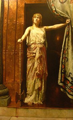 Clytemnestra - john collier---   ,in ancient Greek legend, was the wife of Agamemnon, ruler of the Ancient Greek kingdom of Mycenae or Argos. In the Oresteia by Aeschylus, she was a femme fatale, who murdered her husband, Agamemnon – said by Euripides to be her second husband – and the Trojan princess Cassandra, whom he had taken as war prize following the sack of Troy; however, in Homer's Odyssey, her role in Agamemnon's death is unclear and her character is significantly more subdued.